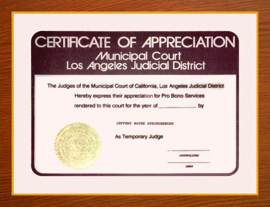 Jeffrey w steinberger dui lawyer los angeles drunk driving certificate of appreciation as judge pro tem superior court of california yadclub Choice Image